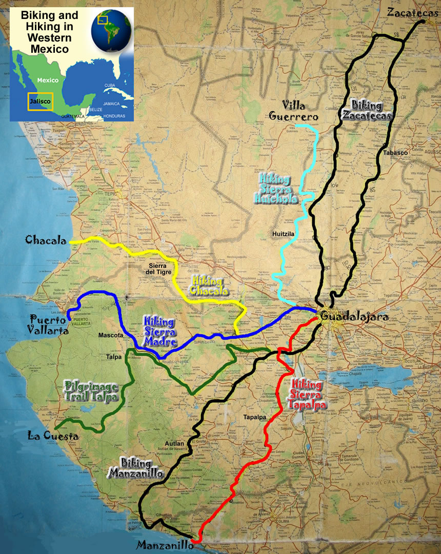 Outdoor Adventure Travel Map Biking And Hiking In Western Mexico